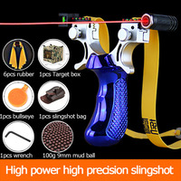 2020 New  Laser Aiming Slingshot High Precision Outdoor Hunting Catapult with Flat Rubber Band Outdoor Game Sling Shot Set|Bow & Arrow|Sports & Entertainment -