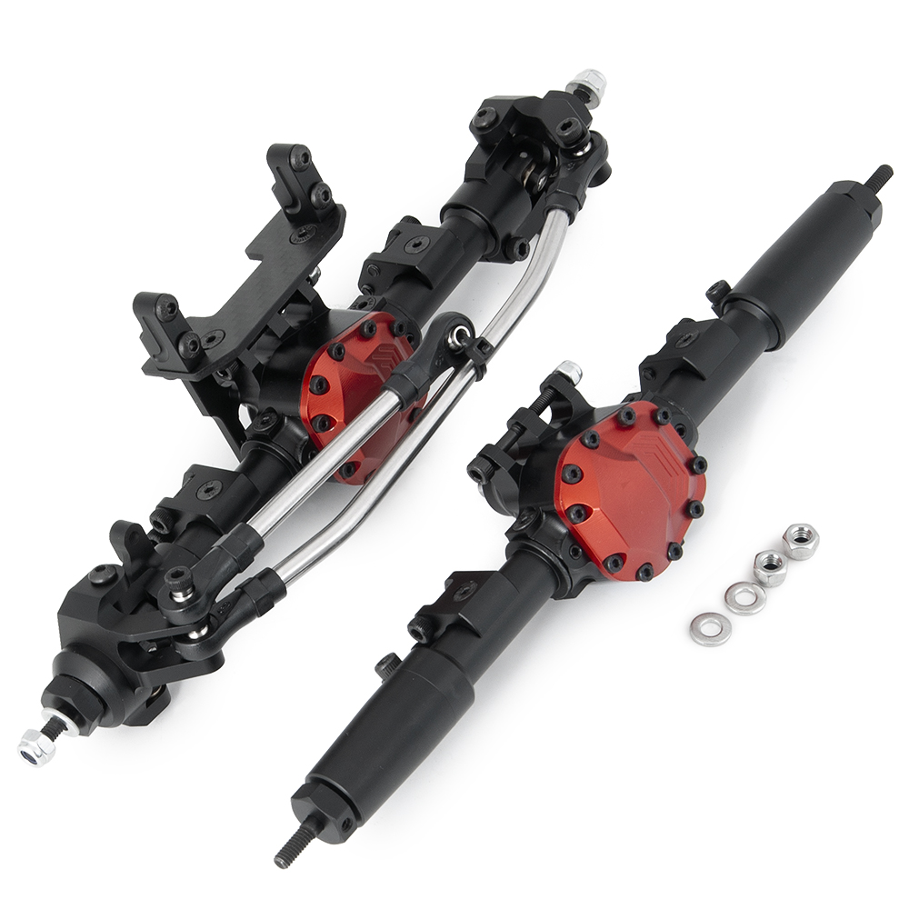 AXSPEED Black CNC Aluminum Front Rear Straight Complete Axle for Axial SCX10 90046 1/10 RC Crawler Car Upgrade Parts