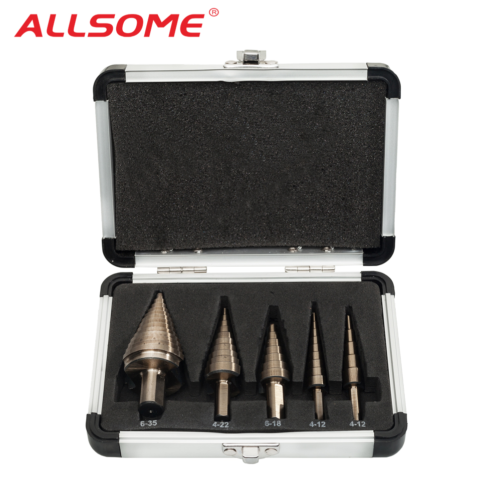 ALLSOME 5pcs Metric Hss Cobalt Step Drill Bit Set Multiple Hole 50 Sizes With Aluminum Case