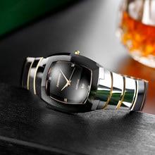 John Boss-Reloj de acero de tungsteno Tonneau para hombre y mujer, pulsera de cuarzo con movimiento suizo, con arco de zafiro, resistente al agua