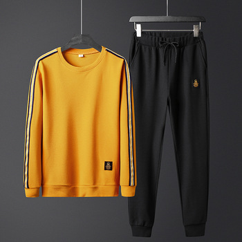 Autumn Fashion Long Sleeve Men O-neck Striped Two Piece Set Sports Suit Casual T Shirt Elastic Waist Tracksuits Brand Clothes