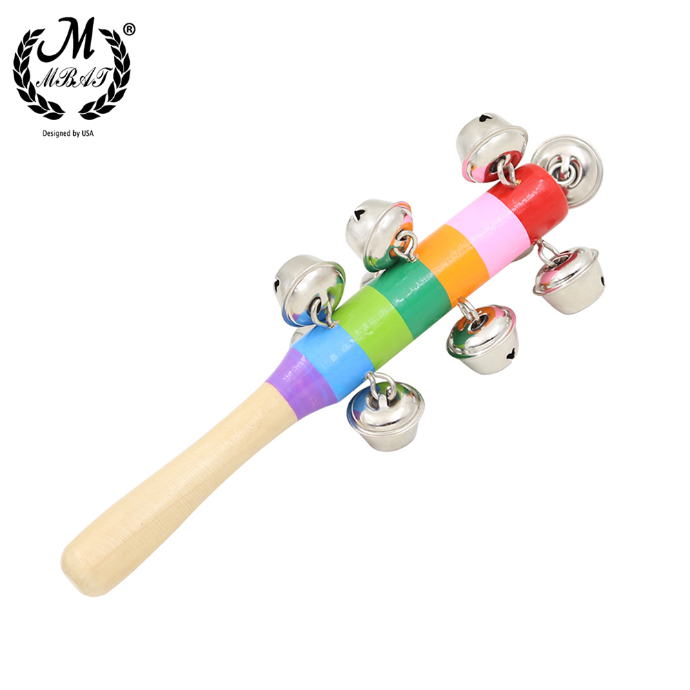 M MBAT Baby's Bell Vocal Toys Rainbow Stick Shaker Educational Toy Handle Wooden Activity Bell Ring Rainbow Musical Instrument