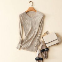 100% worsted cashmere v neck ribbed knit sweater
