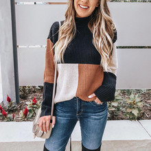 Autumn winter women's turtleneck pullover fashion long sleeve patchwork Cotton l