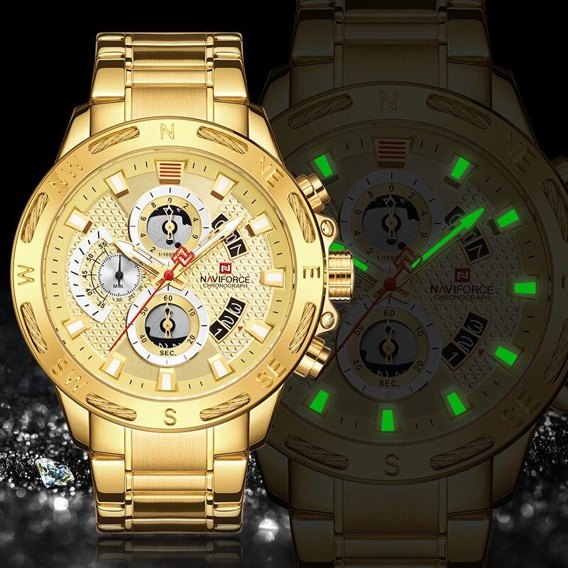 NAVIFORCE Watches Top Luxury Brand Stainless Steel Sports Men Watch Chronograph Waterproof Quartz Wristwatch Relogio Masculino