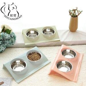 SHUANGMAO Pet Cat Double Bowls