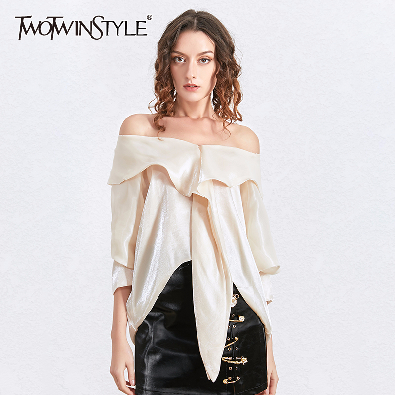 TWOTWINSTYLE Sexy Slash Neck Blouse Tops Female Batwing Sleeve Bowknot Lace Shirt Women Fashion Clothing 2020 Spring Summer New