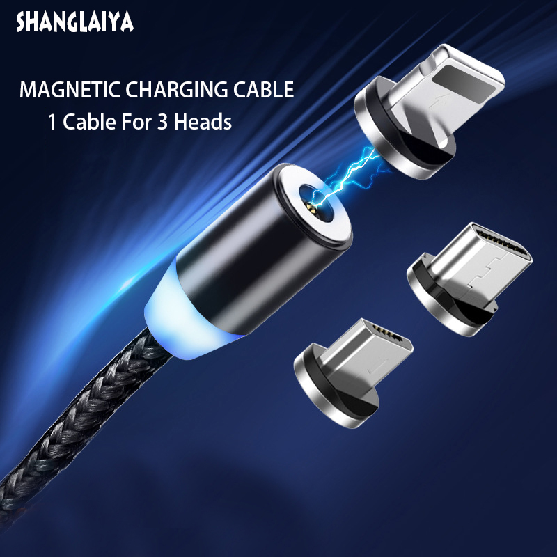 Magnetic Charger Cable Fast Charging Micro USB Type C Cable For iPhone Samsung Xiaomi Huawei Mobile Phone Magnet Wire