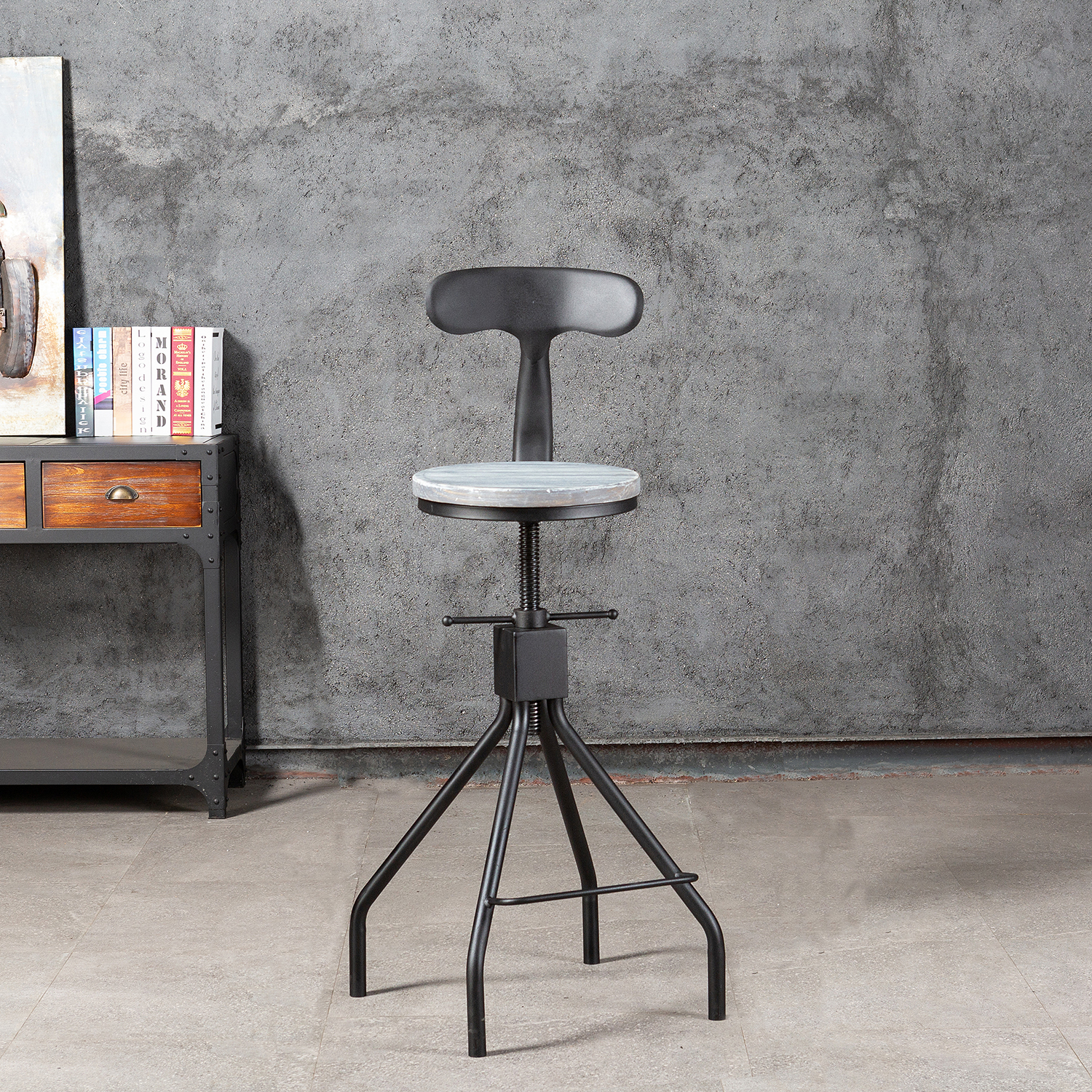 Industrial 24inch Bar Stool Swivel Adjustable Counter Height Wood Metal Bar Stools With Full Back 24-30 Inches Black