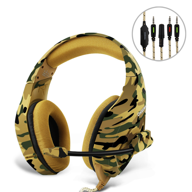 3.5mm Wired Camouflage Headset Bass Gaming Headphones Games Earphones with Microphone for PC Phone Xbox One Tablet PS4