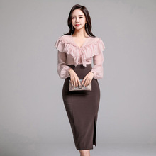 A new fashion girl of autumn, V collar and flounce shirt + waist skirt suit недорого