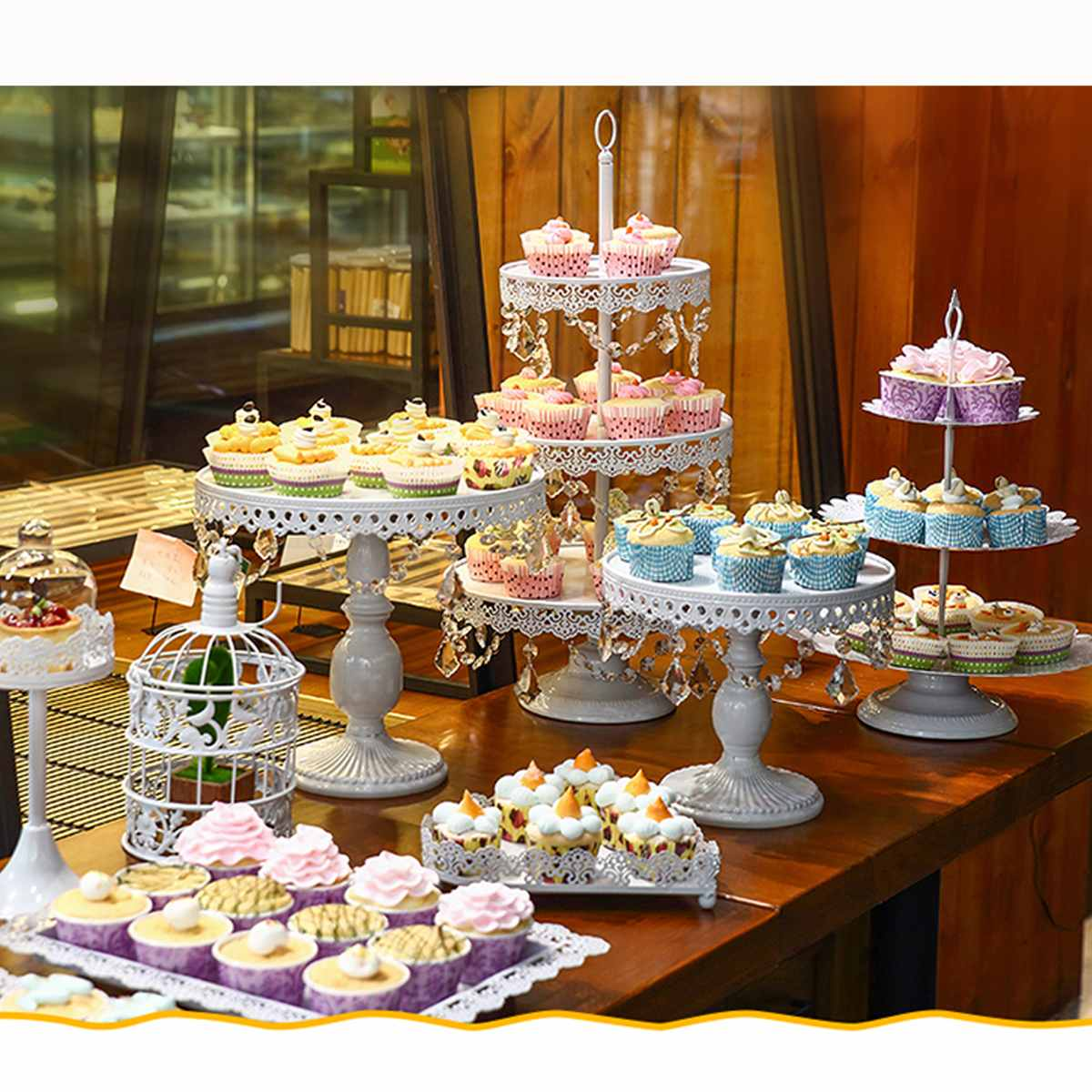 Brilliant New 12Pcs White Wedding Crystal Set 3 Tier Metal Cupcake Cake Funny Birthday Cards Online Elaedamsfinfo