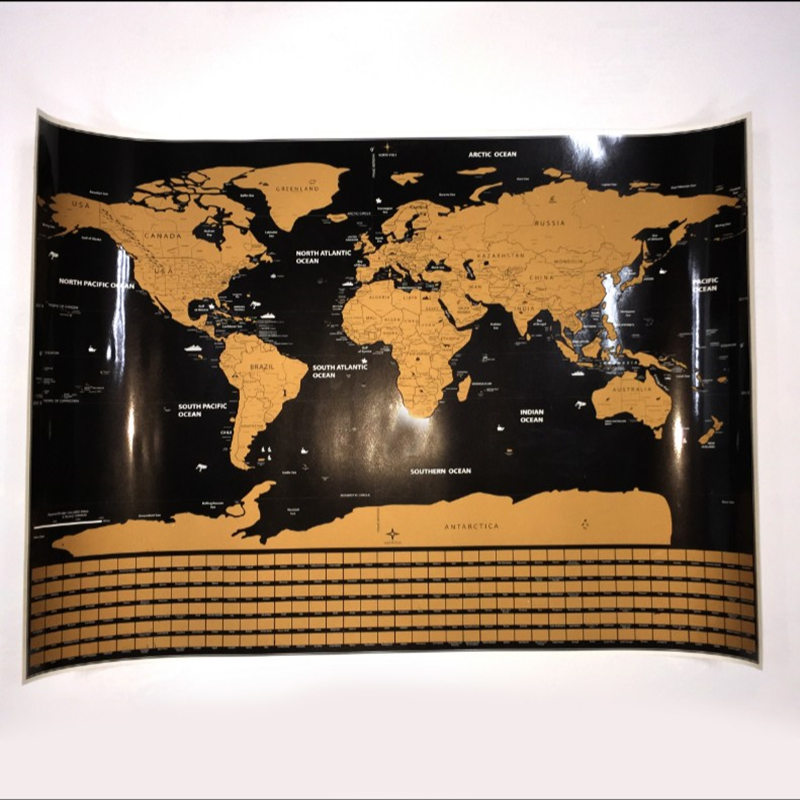 Big Deluxe Erase National Flag World Travel Map Scratch Off Tour Map Wall Sticker Travel Scratch Map Room Home Office Decoration