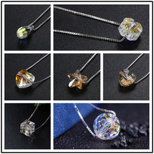Embellished with Crystals From Swarovski Pendant Necklaces Colorful Beads For Women Wedding Office Jewelry Simple Fashion 2019