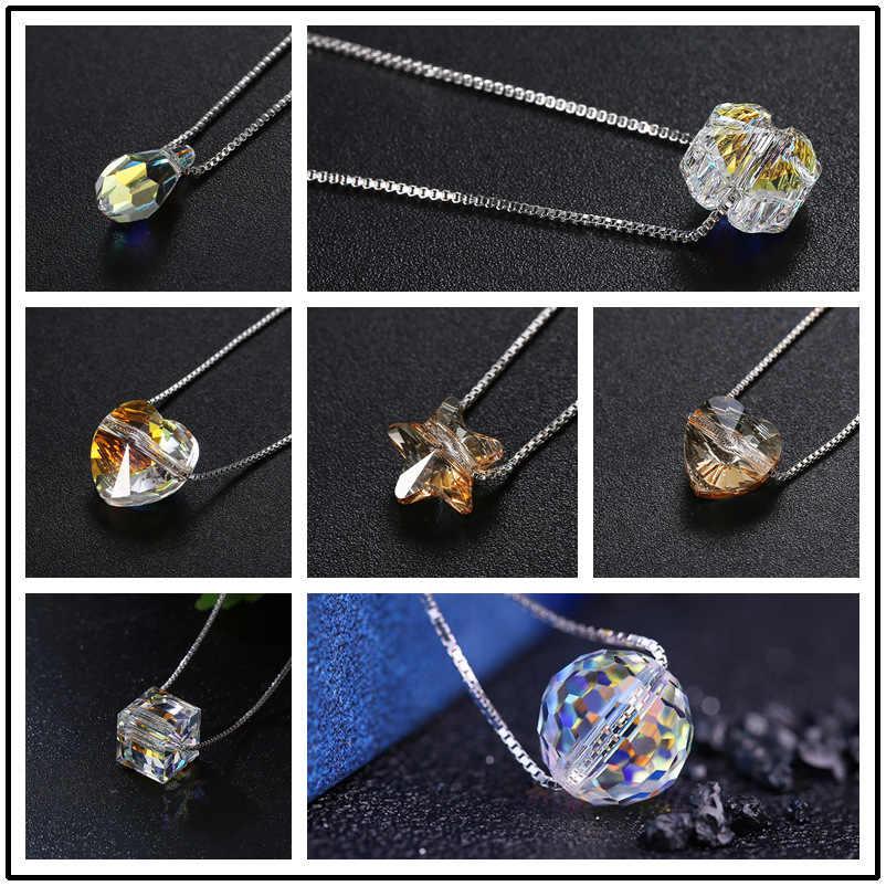 Verziert mit Kristallen Von Swarovski Anhänger Halsketten Bunte Perlen Für Frauen Hochzeit Büro Schmuck Einfache Mode 2019