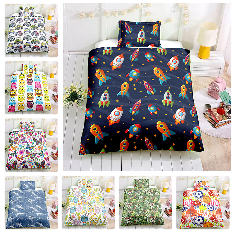 2Pcs 100% Cotton Crib Bed Linen Kit Cartoon Animal Baby Bedding Set Includes Pillowcase Duvet Cover Without Filler