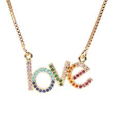 Letter LOVE Crystal Punk Choker Harajuku Necklace for Women Jewelry Couple Gift Necklace ANGEL BABY Chokers Femme Collier new crystal rhinestone choker necklace women wedding accessories silver chain punk gothic chokers jewelry collier femme