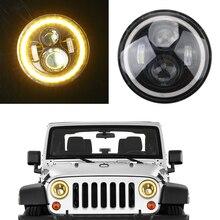 12V 24V 7inch LED DRL Car Headlight Bulb Turn Signal Lamp Headlamp For Jeep Wrangler Land Rover Defender Hummer Lada Offroad 4x4