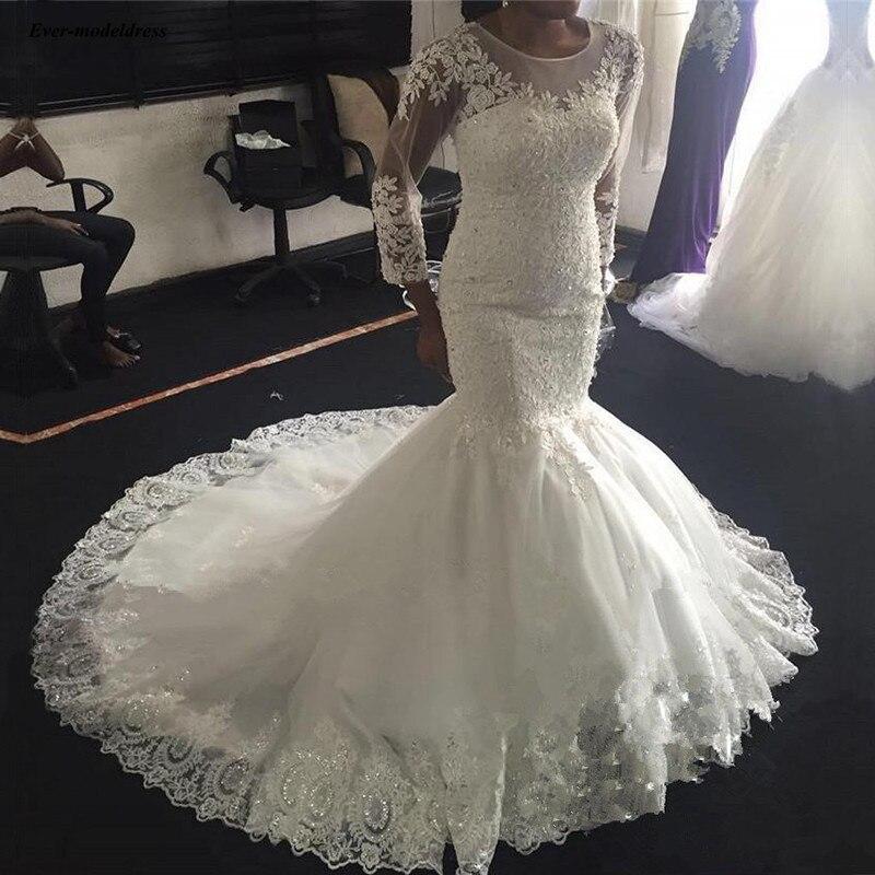 Long Sleeves Wedding Dresses 2020 Lace Appliques Beaded Lace Up Mermaid Bride Dress Bridal Gowns Vestido De Noiva