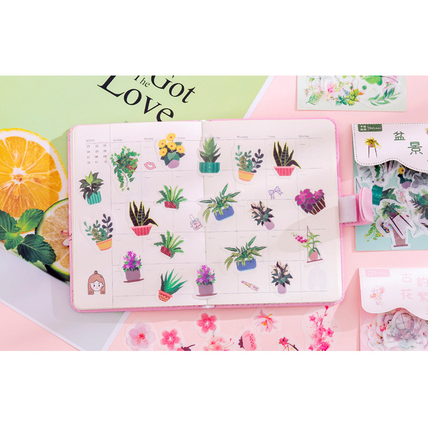 40pcs/pack Beautiful Plant Cactus Paper Pack Sticker Series Eight Selections Diary Scrapbooking Stationery