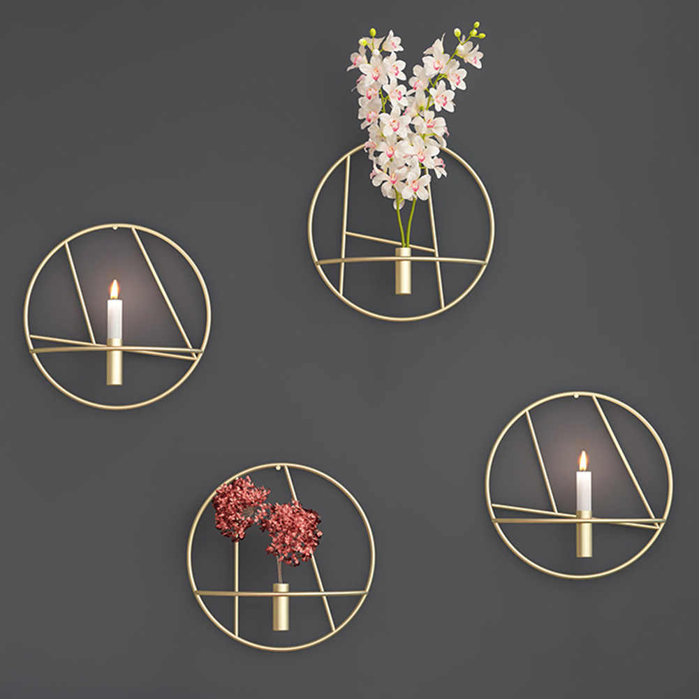 Metal Candle Holder Geometric Round Candlestick Wall Mounted Crafts Decor