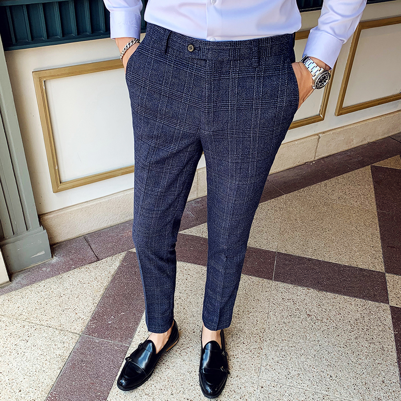 New Boutique Fashion Plaid Mens Casual Business Suit Pants Slim High-end Brand Formal Wedding Dress Groom Stage Male Trousers