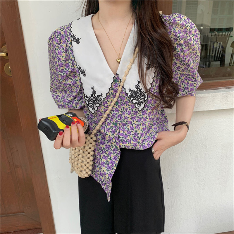 Alien Kitty Purple Puff Sleeves Summer Chic Fashion 2020 Prairie Style Lace High Quality All Match Office Lady Florals Shirt