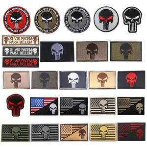 3D Embroidery Patch Army Hook and Ring Punisher Tactics Striped Armband Morale Chapter Skull Battle Badge Icon Cloth Sticker(China)