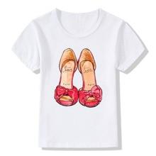 Kids White T-shirt New Red Shoe Print Girls T Shirt Short Sleeve O-neck Summer Tops Casual Children Tshirt Modal Tees Girls Top 12 18 year new 3d animal style t shirt girls big kids printed lemur children s tshirt top design kids tops teen ct1