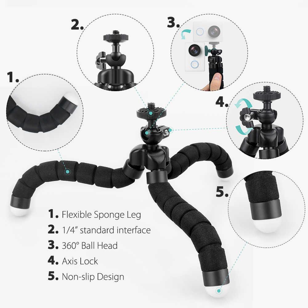 Onrier MINI ฟองน้ำ Octopus ขาตั้งกล้องสำหรับโทรศัพท์มือถือสมาร์ทโฟนขาตั้งกล้องสำหรับ GoPro 8 7 6 5 สำหรับ Yi 4 K กล้อง