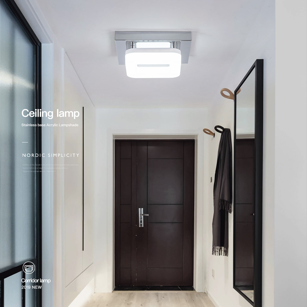 Hb73aaf7a8de94af4804da6619f4d4466f Kitchen Ceiling Lights | Kitchen Spotlights | Modern Minimalism Black Square Iron Dimming Ceiling Lamp Bathroom Balcony Corridor Aisle Kitchen Surfaced Mounted Ceiling Light Wattage 12W