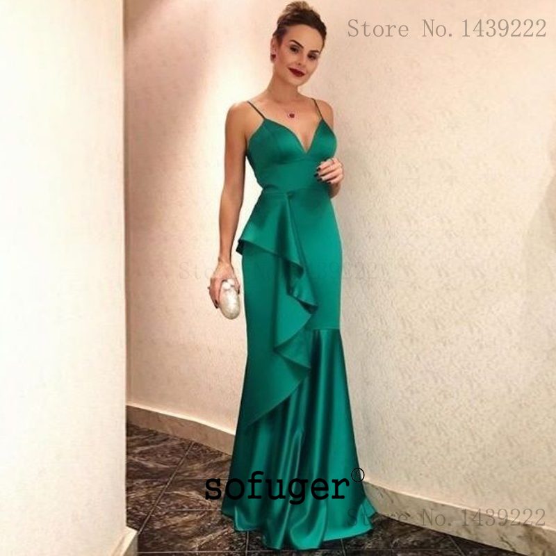 Simple Green Mother Women Satin V Neck Ruffles Formal   Evening     Dresses   Straps Long Arabic Special Occasion Robe De Soiree Plus