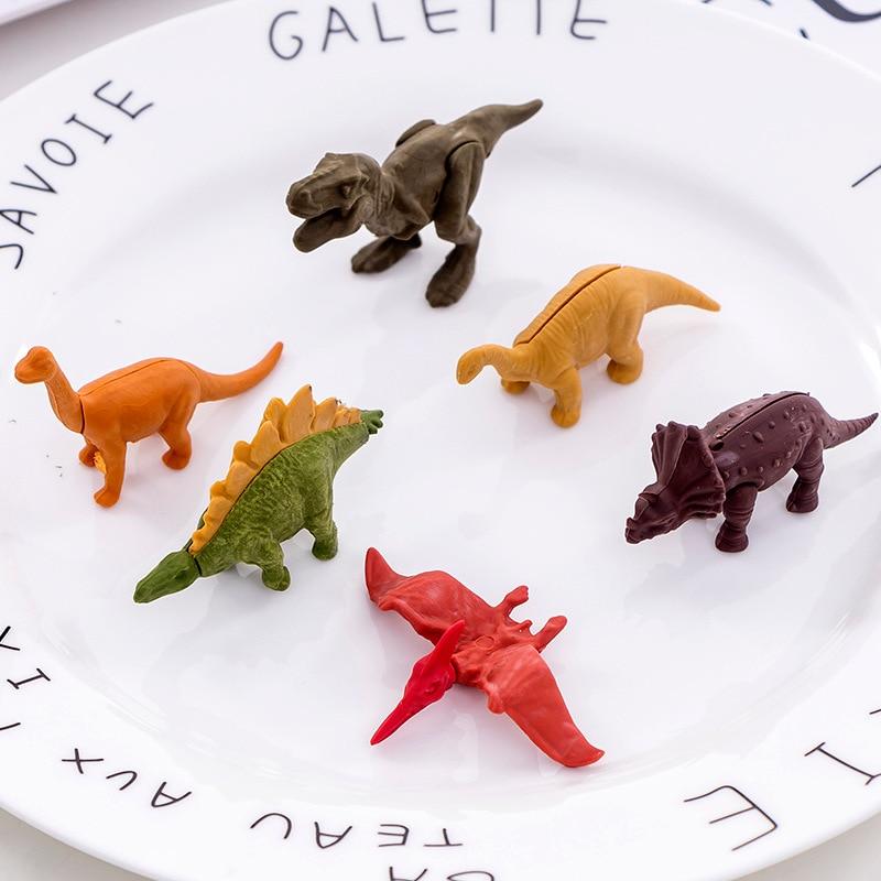 Cute Eraser 60 Pcs Cartoon Animal Dinosaur Shape Detachable Eraser  For Children Creative Kawaii Gift School Student Stationery
