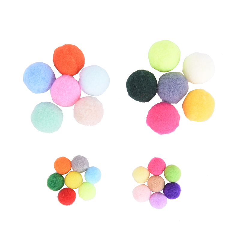 100pcs DIY Crafts Colorful Mini Fluffy Pompom Color High Elastic Polyester Silk Small Hair Ball Clothing Accessories
