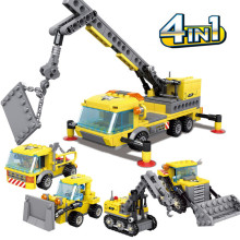 KAZI 80452 Engineering Series Heavy 457PCS Crane Transporter Bulldozer Excavator Building Blocks Bricks Toys For Children