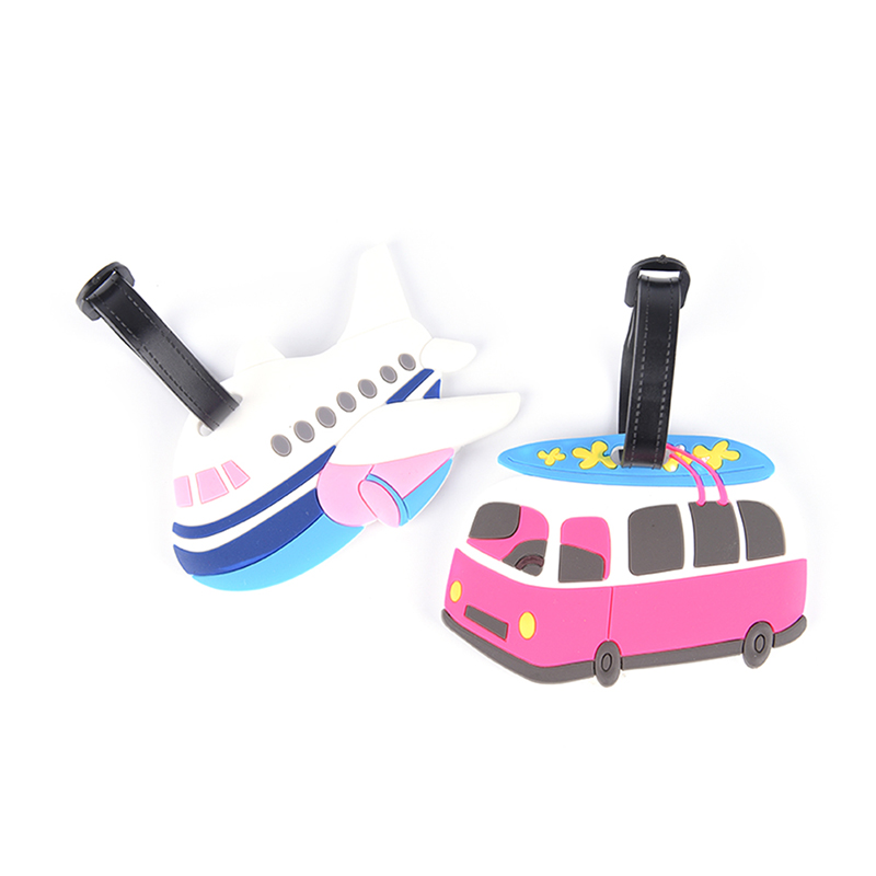 1PC Travel Cartoon Aircraft Car Luggage Tags Name ID Address Portable Accessory