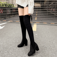 BYQDY New 2020 Over the Knee Boots Women Faux Suede Thigh High Platform Stretch Slim Sexy Ladies Womens Winter