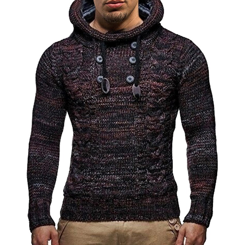 UNIVO KUNI Sweater Men Solid Color Knit Hooded Sweaters 2019 New O-Neck Long Sleeve Slim Fit Pullover Tops Autumn Winter J665
