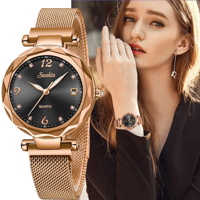SUNKTA Luxury Women Watches Magnetic Female Clock Quartz Wristwatch Fashion Ladies Watch Women reloj mujer relogio feminino  Box