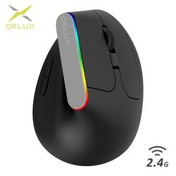 Delux M618C Ergonomico Verticale Del Mouse Senza Fili 2.4GHz 6 Bottoni Mouse Da Gioco gamer RGB 1600 DPI Verticale Mouse Per PC del computer portatile