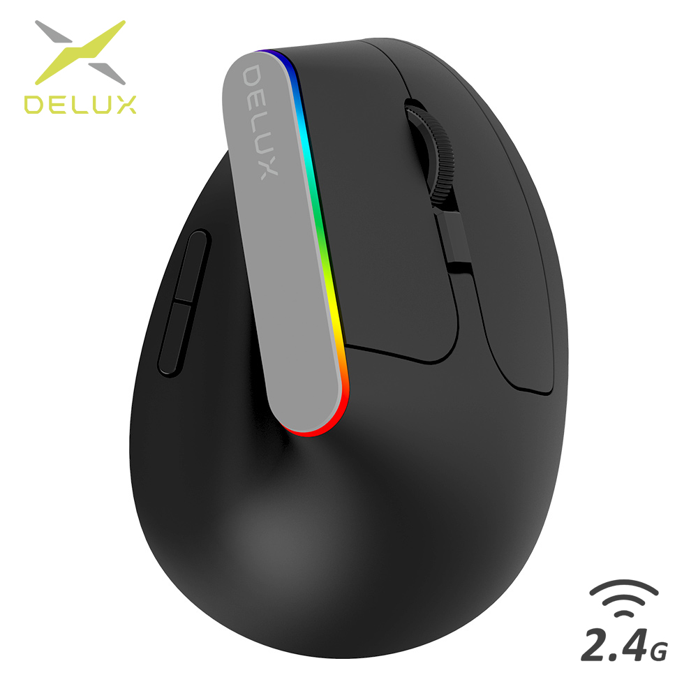 Delux ratón óptico inalámbrico M618C para ordenador portátil, periférico ergonómico Vertical con 6 botones, RGB, 1600 DPI