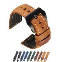 Correa de cuero para reloj Panerai, correa de cuero genuino Vintage de 26mm, 24mm, 22mm y 20mm, marrón claro, negro, azul y verde