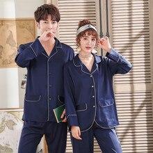 Pajamas-Set Couple Long-Sleeve Loungewear Satin Silk Women FZSLCYIYI Solid 2pcs