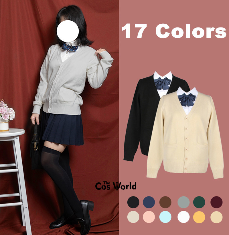 XS-XXL Spring Autumn Women Long Sleeve Knit Cardigan V Neck Sweater Outwear Jacket Coat For JK School Uniform Student Clothes