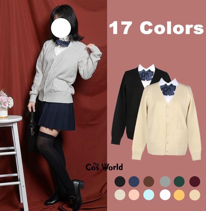 XS-XXL Spring Autumn Women Long Sleeve Knit Cardigan V Neck Sweater Outwear Jacket Coat For JK School Uniform Student Clothes
