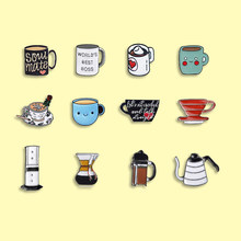 To jest czas na herbatę emaliowane szpilki popołudniowa herbata kawa odznaka broszki Denim torba na ubrania przypinka modna biżuteria na prezent dla przyjaciół
