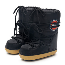 New Women Men And Kids Winter Snow Boots Waterproof Oxford Cloth And Warm Sponge Lining Moon Shoes Mid Calf Lace Up Space Boots