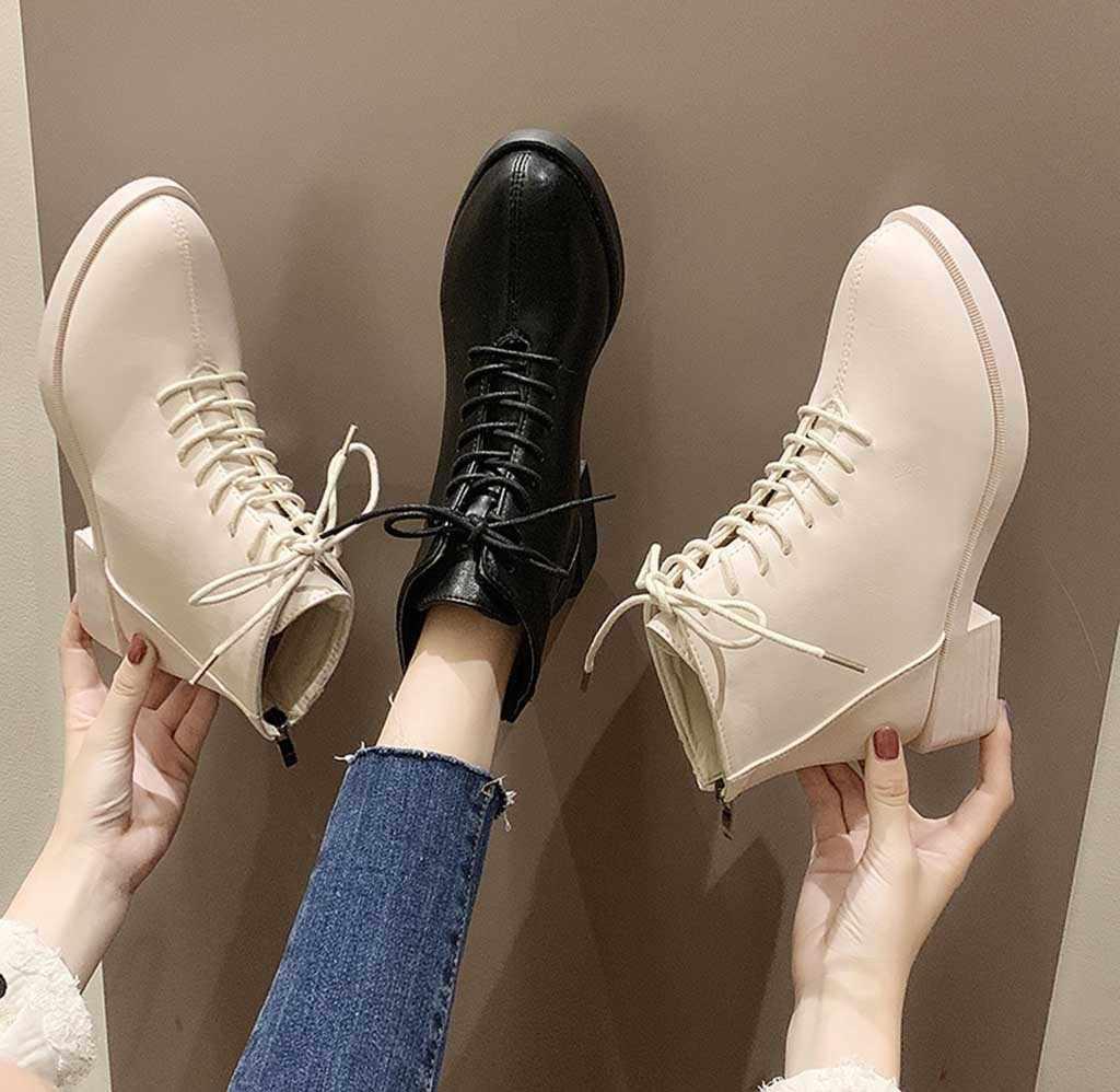 Kış kadın ayakkabı moda kızlar dantel Up düz renk fermuar kalın kısa çizmeler seksi bayanlar kare kök Martin kar botları bootie