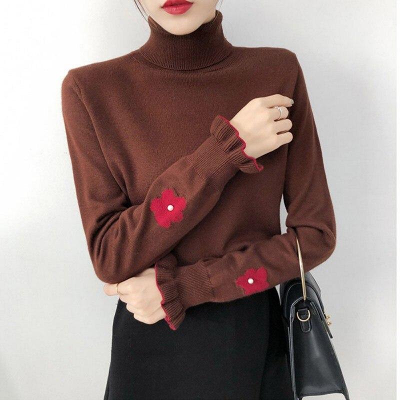 Autumn Winter Women SweatersTurtleneck Pearl Flower Sweater Ruffled Long-sleeved Knitted Pullover Tops For Women Sweater