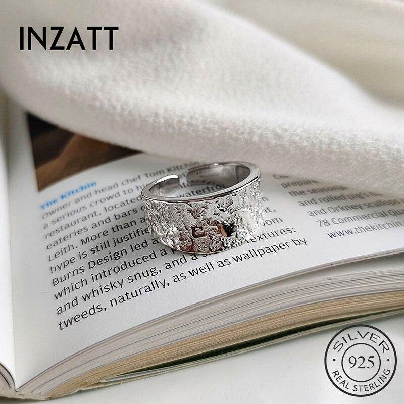 INZATT Real 925 Sterling Silver Irregular Surface Geometric Resizable Ring For Fashion Women  Fine Jewelry  Minimalist Accessories 2019 Gift